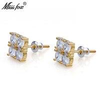 HOT!!! Hip Hop 24K Gold Plated Cz Earrings Men 2X2 Cubic Zirconia Fashionable Personalized Jewellery Piercing Earring Man Gifts