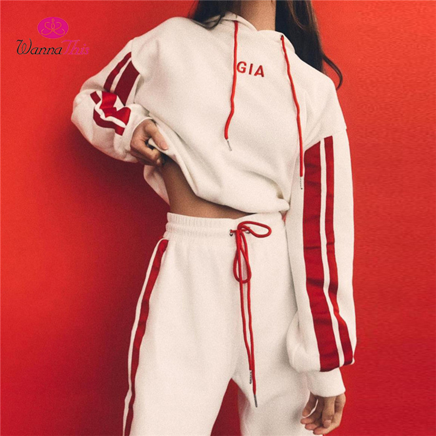 Wannathis 2017 Autumn 2 Pieces Sets Tracksuit Women Hooded