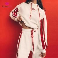WannaThis 2017 Jesień 2 Sztuk Ustawia Dres Kobiety Bluza Z Kapturem Z Długim Rękawem Side Paskiem Spodnie GIA Haft Trening Garnitury