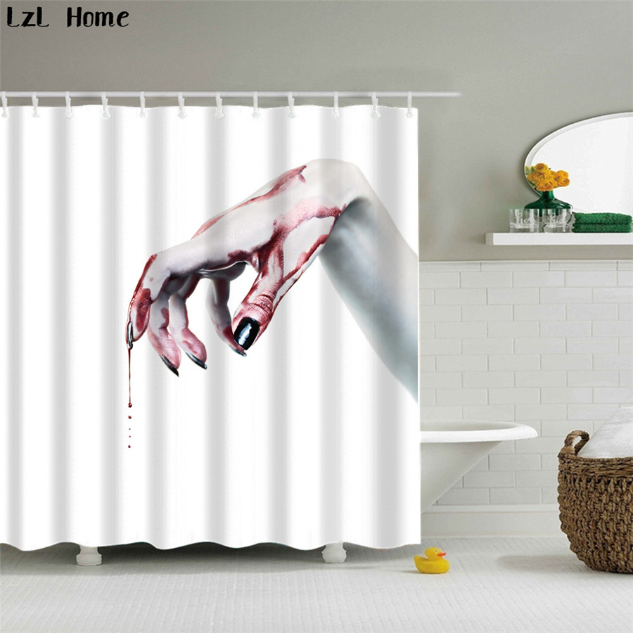 LzL Home Horror 3d Blood Palm Print Polyester Shower Curtain Creative  Halloween Products Bath Curtains Bathroom Accessories In Shower Curtains  From Home ...
