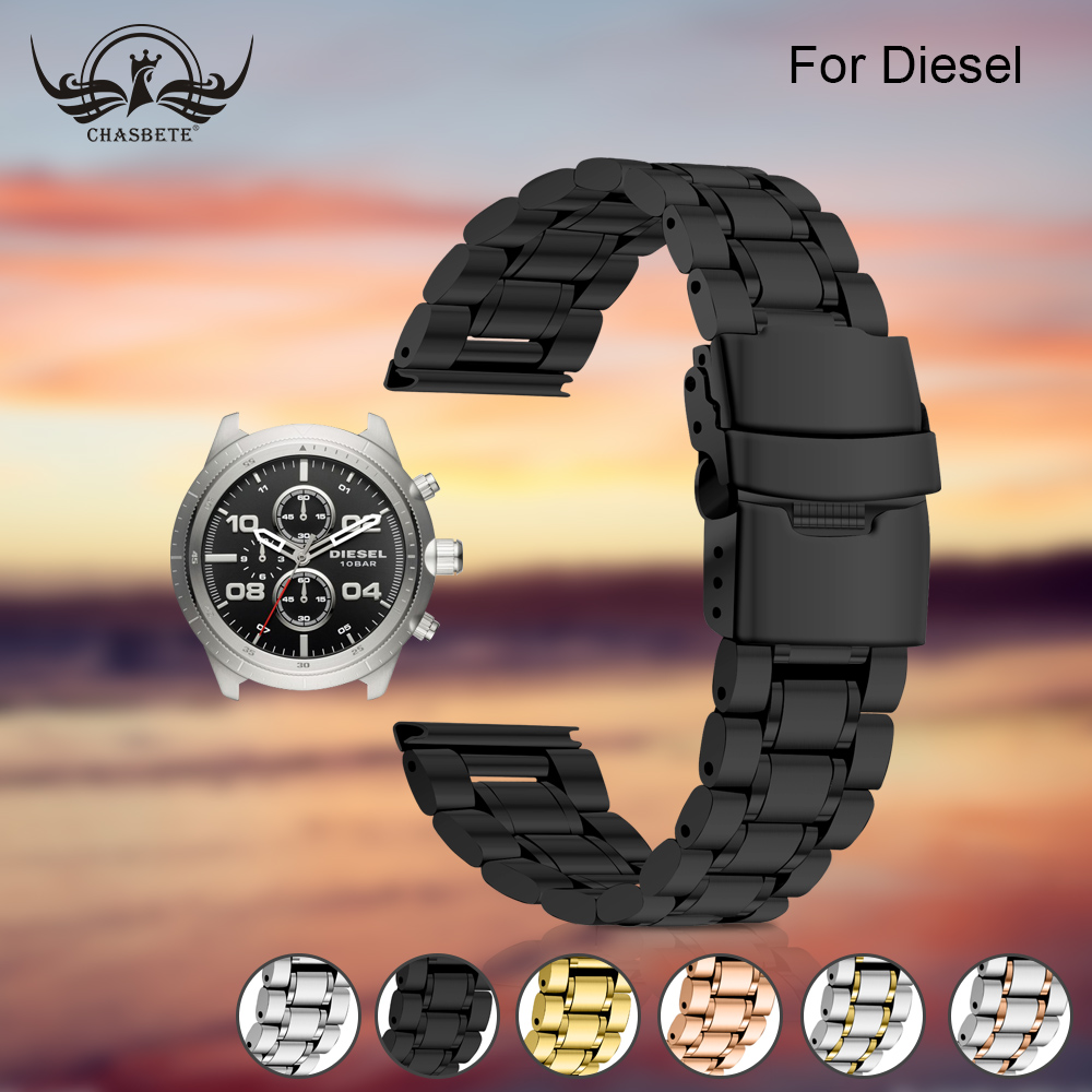 Watchband Quality Solid stainless steel for Diesel Watch Band 22mm Black Silver Stainless Stell Deployment Clasp 5 links 20mm