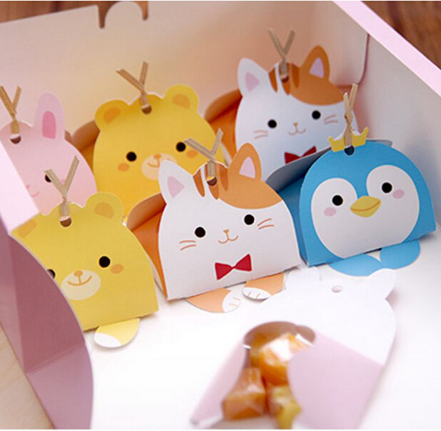 50PC Cute Animal Modeling Candy Box Kids Birthday Party Decoration Wedding Favors Paper Gift Boxes Baby Shower Supplies