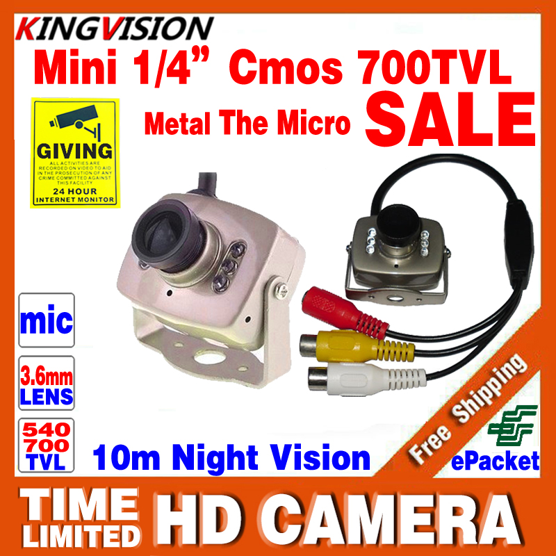 Mini HD 1/3cmos 700TVL Surveillance Home INDOOR Audio MIC Cctv Camera 6led Infrared Night Vision small Metal Analog Color Video bosch 52х450мм 1 1 4 best for concrete 2 608 601 359