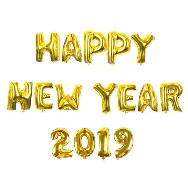 Happy New Year Balloons 16inch Goldsilver Foil Helium Baloons