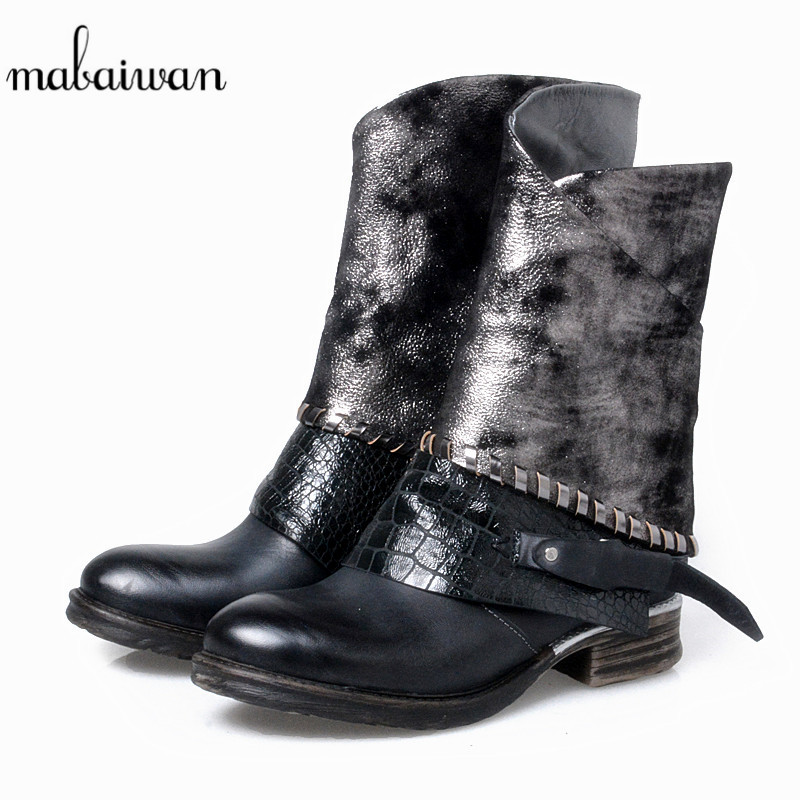 Mabaiwan 2017 Black Fashion Genuine Leather Women Shoes Military Ankle Boots Buckle Zip Winter Square Heel Warm Shoes Women Flat mabaiwan handmade rivets military cowboy boots mid calf genuine leather women motorcycle boots vintage buckle straps shoes woman
