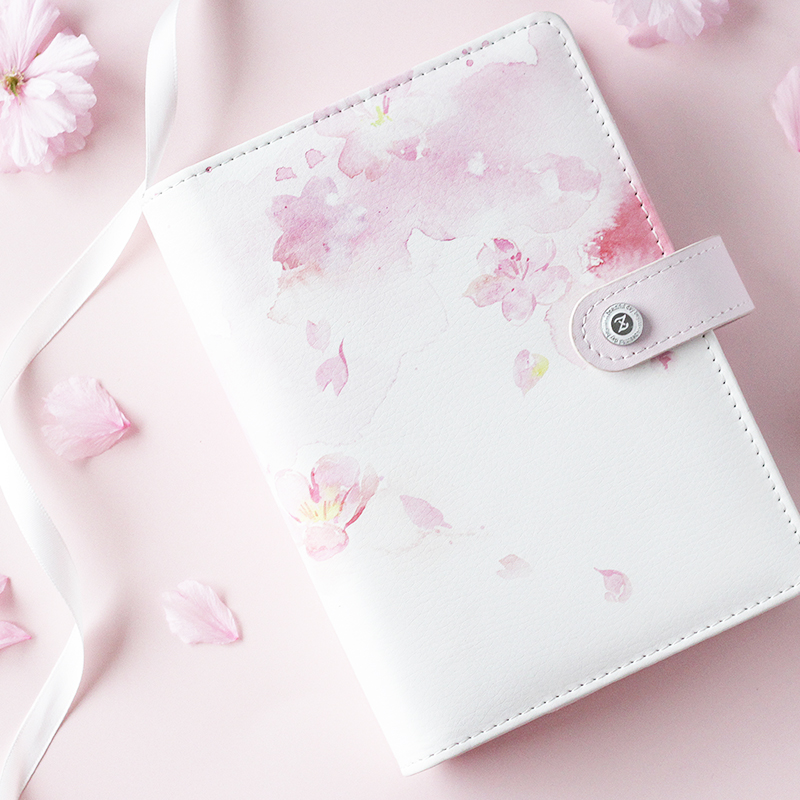 2019 Yiwi Cherry Blossoms Pink Blue A5 A6 Loose Leaf Planner Faux Leather Notebook Diary Journal  Book