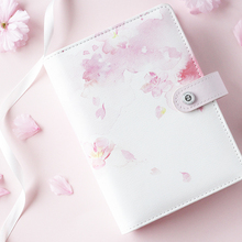 2020 Yiwi Cherry Blossoms Pink Blue A5 A6 Loose Leaf Planner Faux Leather Notebook Diary Journal  Book