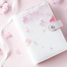 2020 Yiwi wiśniowe kwiaty różowy niebieski A5 A6 Loose Leaf Planner Faux Leather Notebook Diary Journal Book