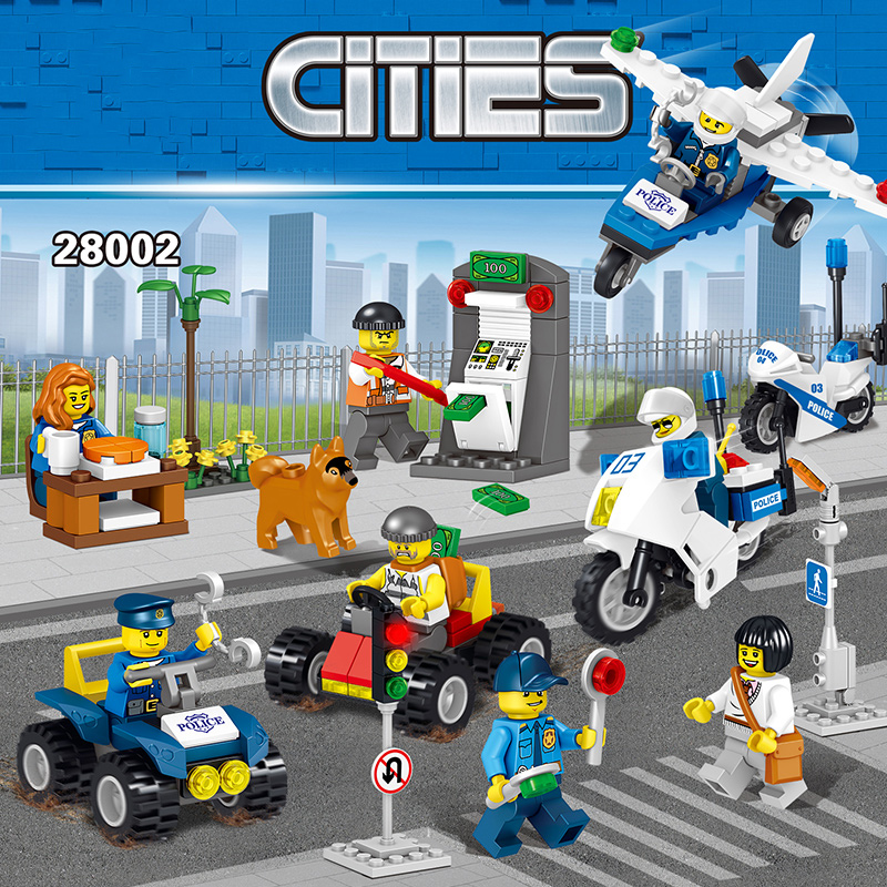 8pcs/set Police Station Model Building Blocks DIY Helicopter Car Figures Compatible Legoed Military City Bricks Toy For Children new diy model technical robot toys large particle building blocks kids figures toy for children bricks compatible lepins gifts