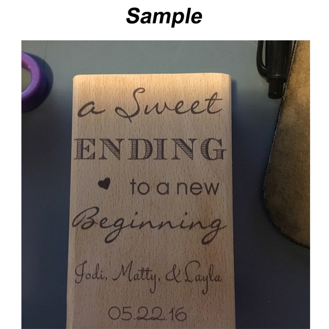 A Sweet Ending To New Beginning Custom Wedding Rubber Stamp 2 X2 Name