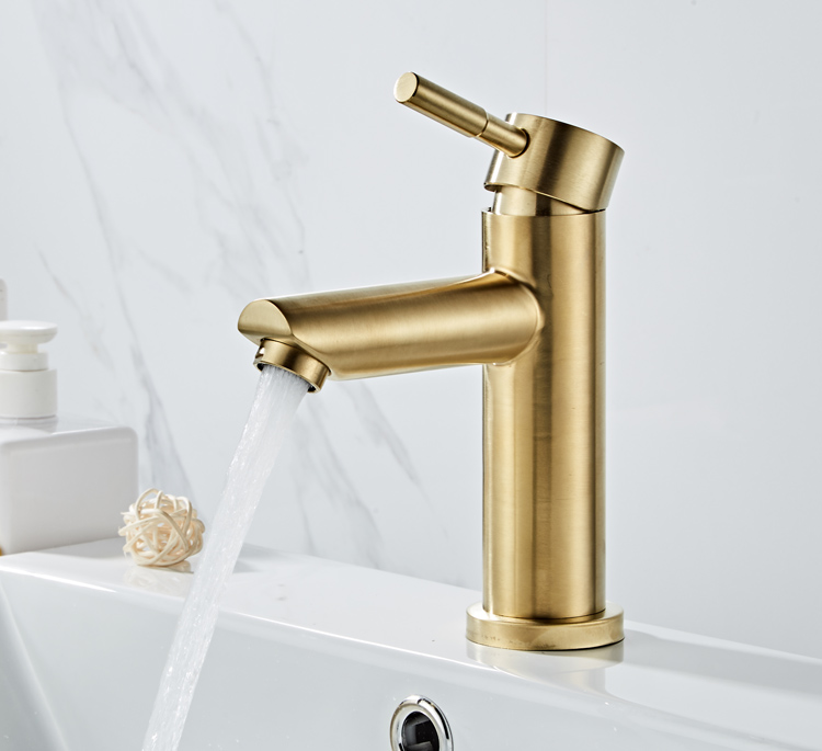 HTB1TOz0TSzqK1RjSZFjq6zlCFXal Bathroom Faucet Solid Brass Bathroom Basin Faucet Cold And Hot Water Mixer Sink Tap Single Handle Deck Mounted Brushed Gold Tap