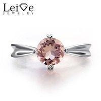 Leige Jewelry Natural Morganite Rings Pink Gemstone Morganite Engagement Promise Ring for Women Sterling Silver 925 Fine Jewelry