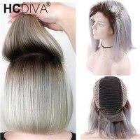 Бразильский прямой короткий боб парики 13*4 Синтетические волосы на кружеве человеческих волос парики для Для женщин Silver Grey Ombre Парик 130% Воло