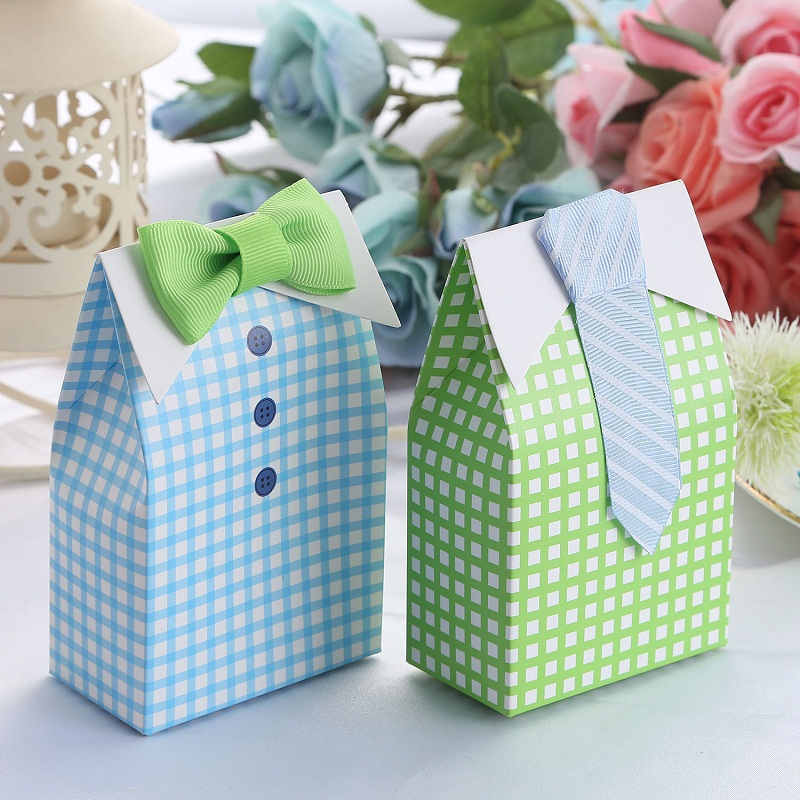 100 x new blue u0026 green boy baby shower candy bags creative my little man theme baby shower party favors boxes