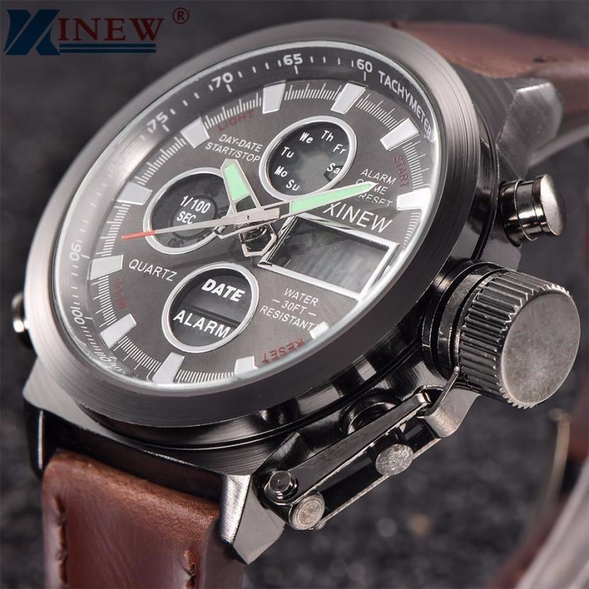 XINEW Mens Watches 2018 Luxury Quartz Sport Clock New Fashion Military Army Watch Men LED Wrist Watch Relogio Masculino /PY 3