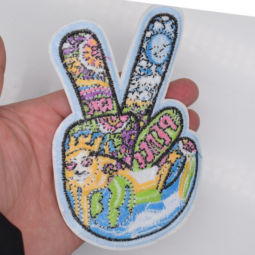 patch applique embroidered applique embroidery iron on peace and love sign hand