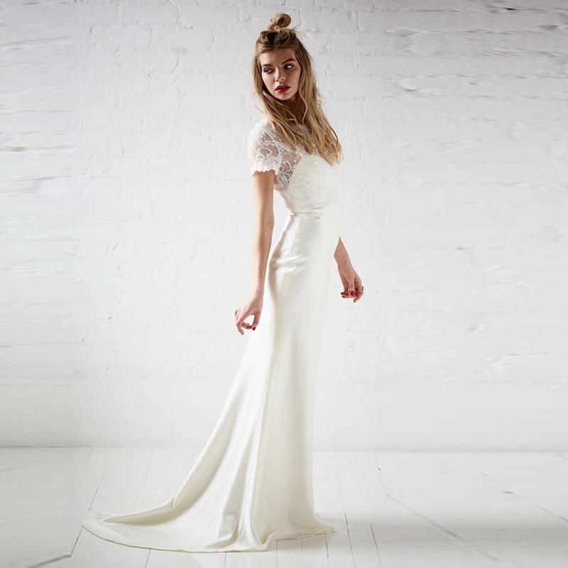 simple romantic satin 2016 floor length wedding gowns white long sheath short sleeves bridal dress lace