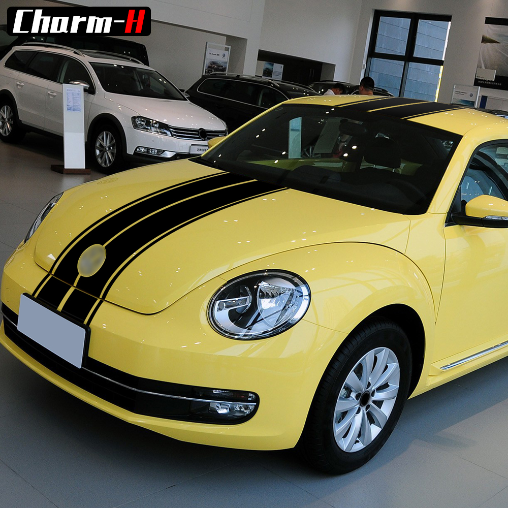 Car Styling Body Stripes Kit for Volkswagen Beetle A5 2011 2018 Hood Bonnet Roof Rear Trunk Vinyl Decals Stickers Accessories