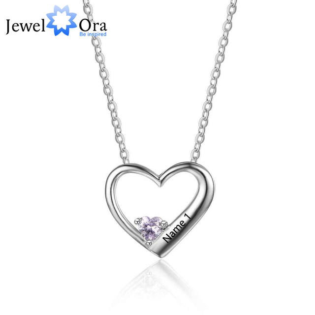 Hot selling personalized 925 sterling silver diy birthstone necklace hot selling personalized 925 sterling silver diy birthstone necklace pendant engraved heart mom wife gift jewel aloadofball Images