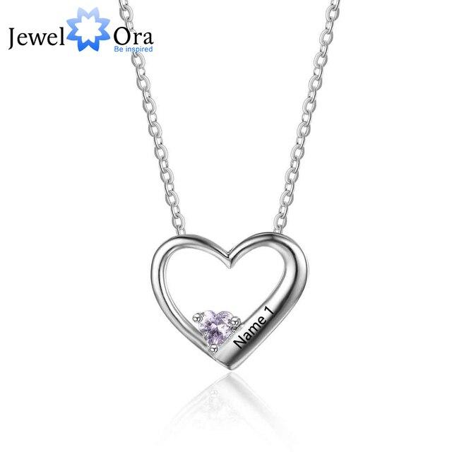 615c45eb193e Venta caliente personalizada 925 plata esterlina DIY COLLAR COLGANTE de  corazón grabado mamá mujer regalo joya