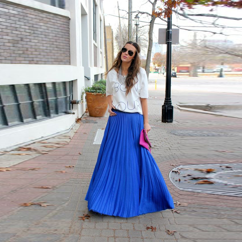 Top Fashion Blue Chiffon Skirts A Line Floor Length Long Pleated Skirt Maxi Skirt-in Skirts From ...