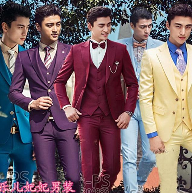Solid color suit set men wedding suits 2018 slim formal dress male ...