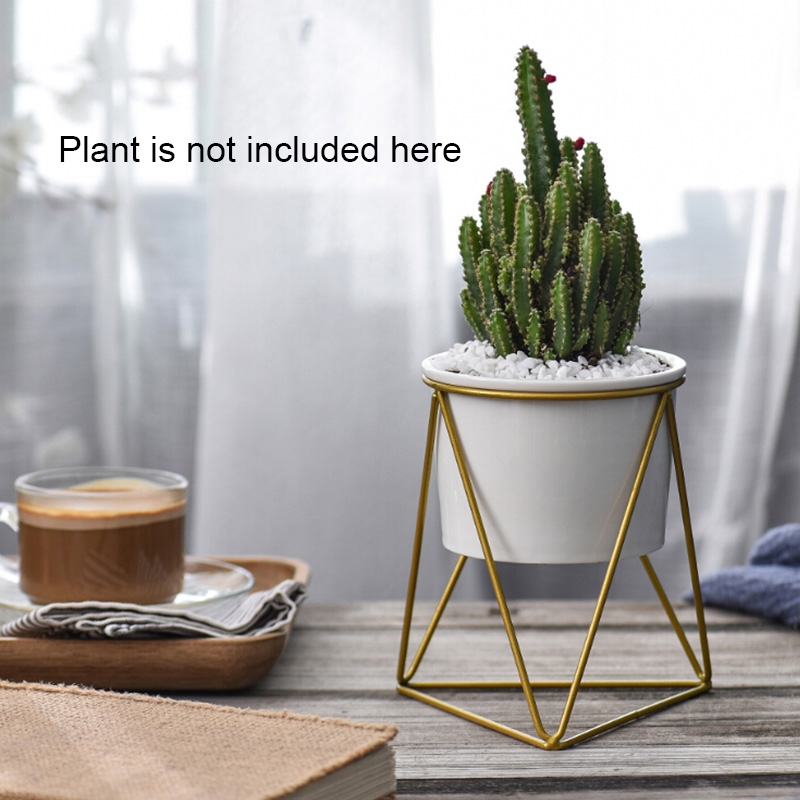 Cactus Lade Planter Potten Keramische Geometrische Bloem Kom Succulente Planter Iron Standhouder Thuis Tuin Planter Potten Decoraties