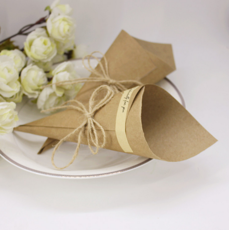 paper cones wedding. aliexpress.com : buy 100 x wedding favors flower holder ice cream style diy kraft paper cones candy boxes party souvenirs gift box for guests from f