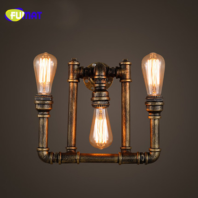 FUMAT Loft Industrial Vintage Wall Lamp Restaurant Bar Luminaire American Creative Water Pipe Sconce Wall Lights 3 Heads