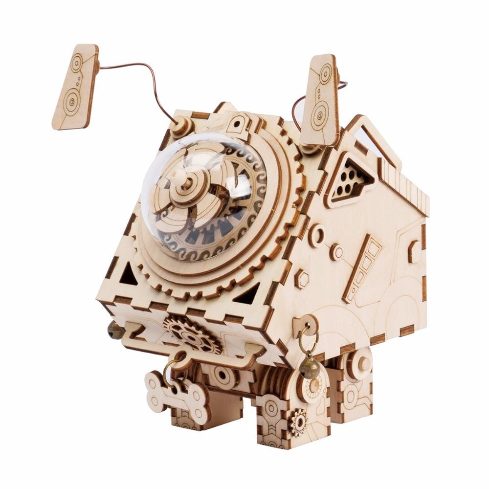 Robotime 3D Puzzle DIY Mișcare Câini de lemn Model jucării pentru copii băieți băieți de formare a creierului Muzică Box Seymour AM480