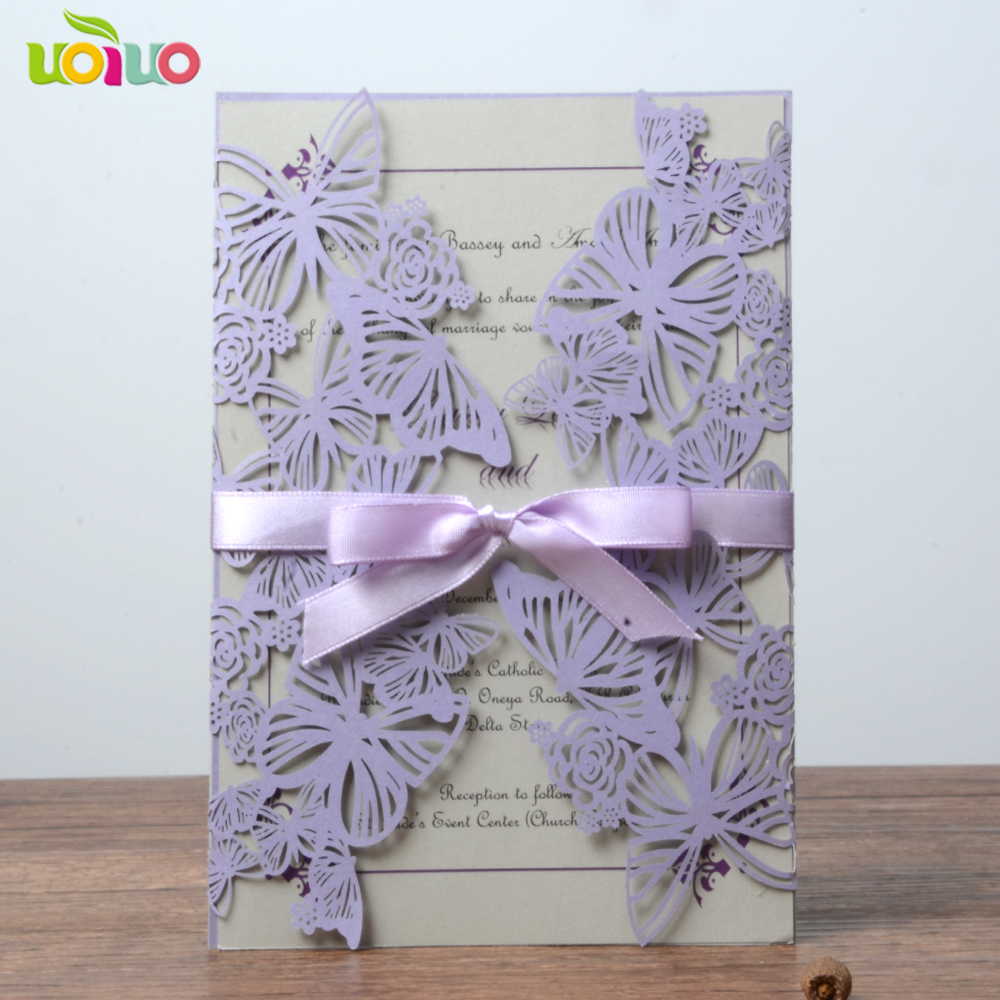 Hot sell lace lavander purple butterfly laser cutting 3d wedding invitation card wedding gifts souvenir decoration image