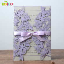 Hot Sell Lace Lavander Purple Butterfly Laser Cutting 3d Wedding Invitation Card Gifts Souvenir Decoration