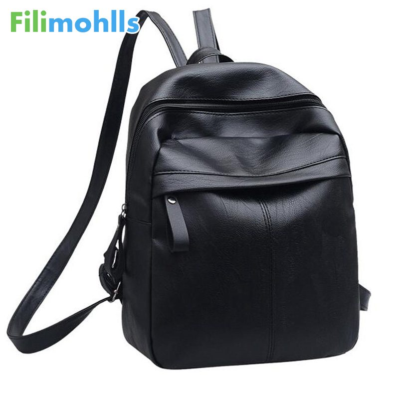 Fashion Solid School Bags For Teenager Girls Large Capacity Women Black Backpack High Quality PU Leather Women Backpack S1332 backpack women school bags brand backpacks women high quality large capacity teenager backpacks for teenage girls student bags