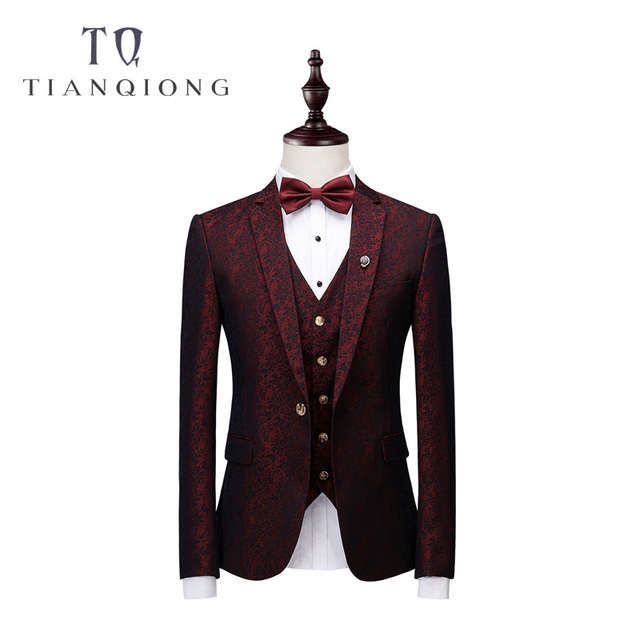 Elegant Wine Groomsmen Notch Lapel Groom Tuxedos Burgundy Jacket Mens Suits Wedding Suits for Men Blazer Suit Party Prom Suits