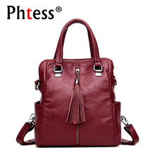 2019 Multifunction Women Leather Backpacks Female Vintage Shoulder Bags Sac a Dos Femme Ladies Bagpack Solid Travel Back Pack
