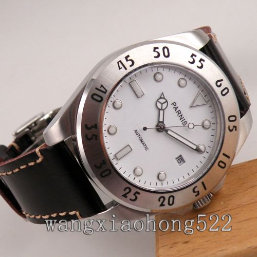 Parnis watch white dial sapphire glass Automatic mechanical mens Watch miyota Movement  PN545 40mm parnis white dial automatic miyota movement sapphire glass mens watch