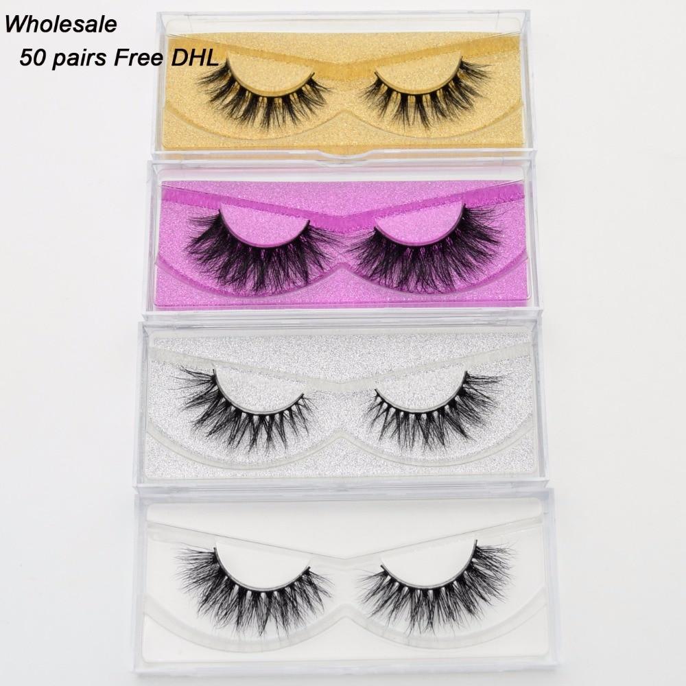Livraison DHL 50 paires Visofree Cils Vison Faux Cils Main Vison Collection 3D Dramatique Cils 33 Styles Glitter Emballage