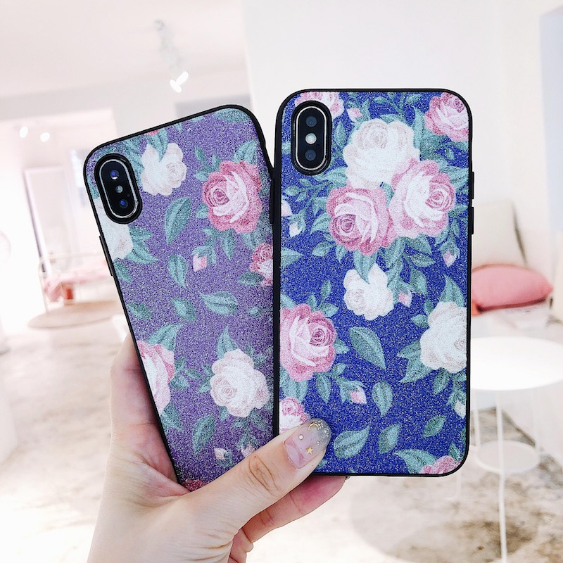 For iPhone 6 6s 7 8 plus X For Samsung galaxy s8 plus Classic Fashion glitter rose flower bling matte soft phone case cover