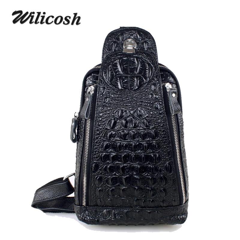 ФОТО Bags Men Famous Brand Genuine Leather Man Chest Pack New Designer Crocodile Waist Pack Male Crossbody BagMen's Travel Bag WL219