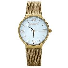 Moda elegante simple BELLMERS de Primeras marcas de Lujo Relojes de las mujeres de Malla de Acero Inoxidable correa de reloj de Cuarzo de la venda Reloj Femenina