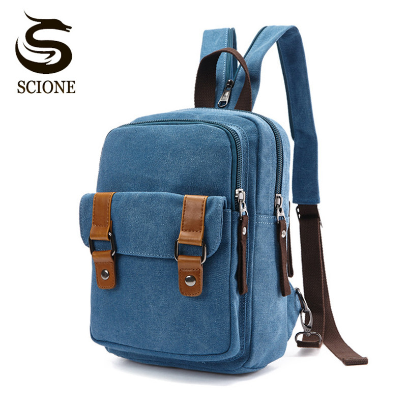 Scione New Chest Bag Pack Korean Style Canvas Backpack Shoulder Bags Female/male Travel Backpack Small Bag Men's Backpack Pack