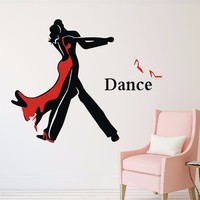 Ballroom Dancing Two-color Vinyl Wall Stickers Waterproof Romantic Wall Decals for Home Living Room, Dance Studio Decoration