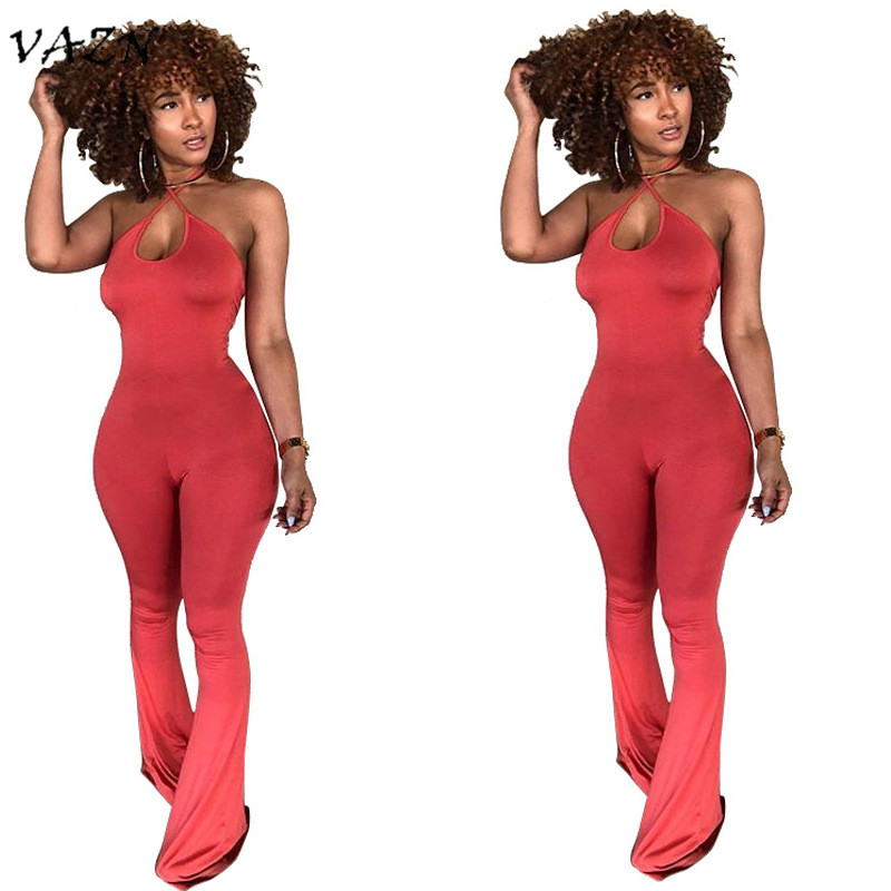 VAZN 2018 New Arrival High Fashion Women Sexy Jumpsuits Solid Halter Sleeveless Strapless Night Club Long Boot Cut Rompers L0179