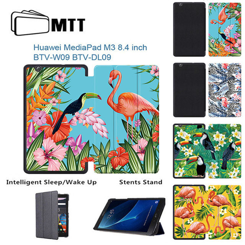 MTT Print Flamingo Cover Case for Huawei MediaPad M3 BTV-W09 BTV-DL09 8.4 inch tablet 2016 Flip Slim PU leather Stand Smart case