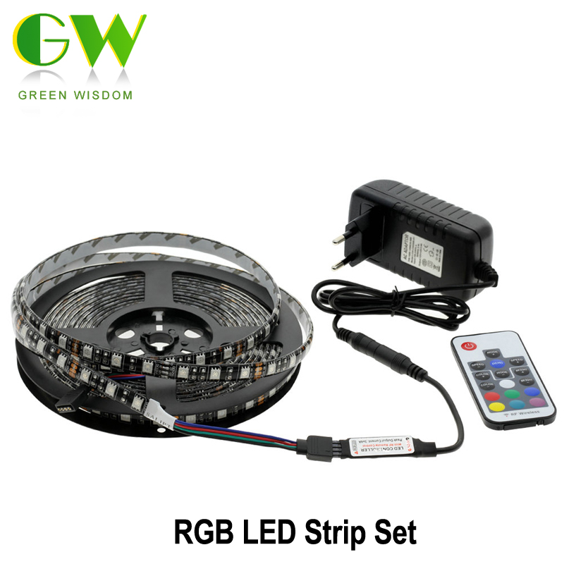5050 RGB LED Strips DC12V 5M 300 LEDs Fleixble Neon Lamp 17Keys RF Remote Controller 12V