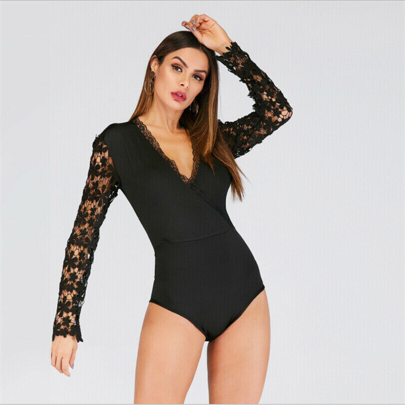 Women Black Skinny Bodycon Bodysuits Summer Sexy Floral Lace Long Sleeve Sexy V Neck Bodysuits Leotard Lady Elegant Chic Catsuit