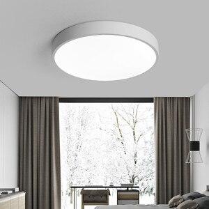 Image 4 - Lustre moderne à Led, noir et blanc, plafonnier rond en acrylique pour le salon, la chambre à coucher, la cuisine, éclairage ultra mince
