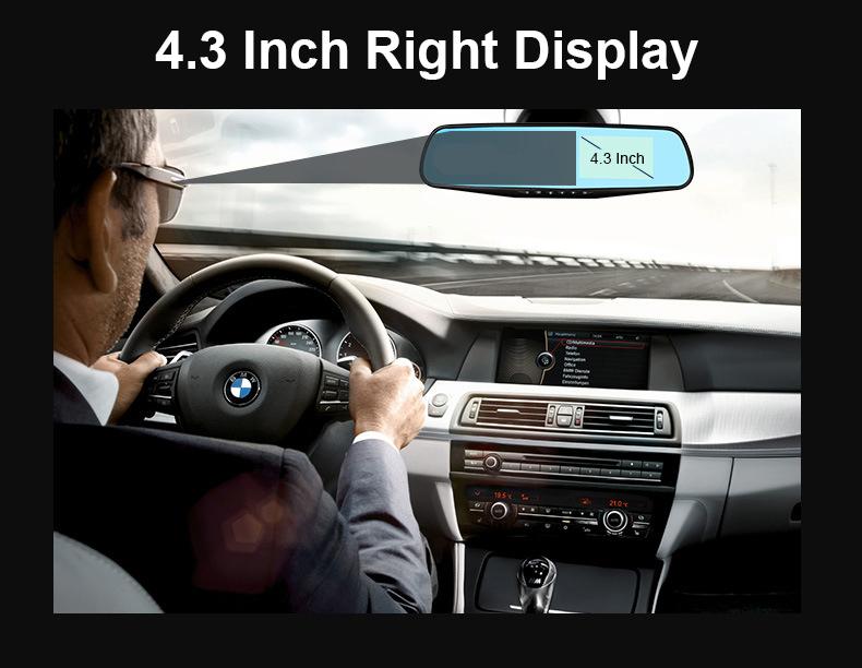 E-ACE Car Dvr 1080P Dual Lens Dash Camera Rear Mirror Digital Recorder With Rearview Camera Video Recorder Camcorder Registrar 3