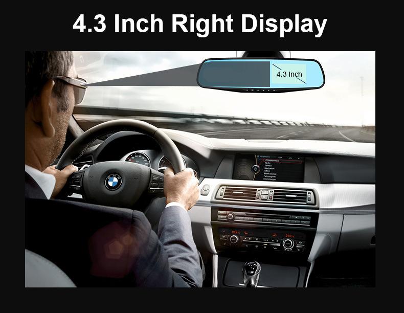 E-ACE Car Dvr 1080P Dual Lens Dash Camera Rear Mirror Digital Recorder With Rearview Camera Video Recorder Camcorder Registrar 3