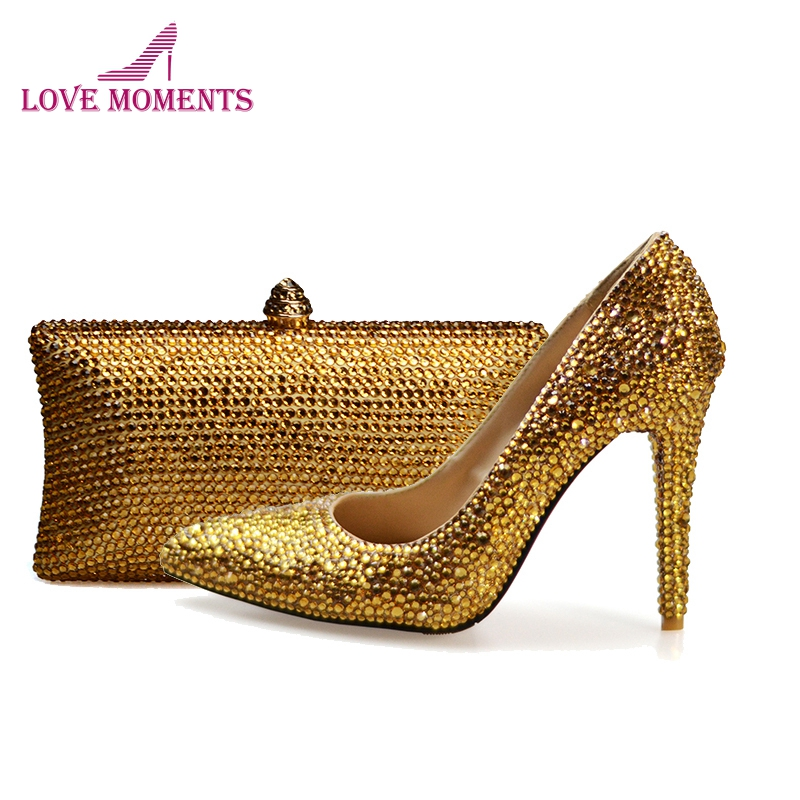Pointed Toe Women High heels Wedding Party Prom Shoes Plus Size 12 13 Gold Rhinestone Bridal Dress Shoes with Purse Evening Bag women s fashion gold lace dinner evening party pumps shoes plus sizes low high heels custom made bridal wedding shoes